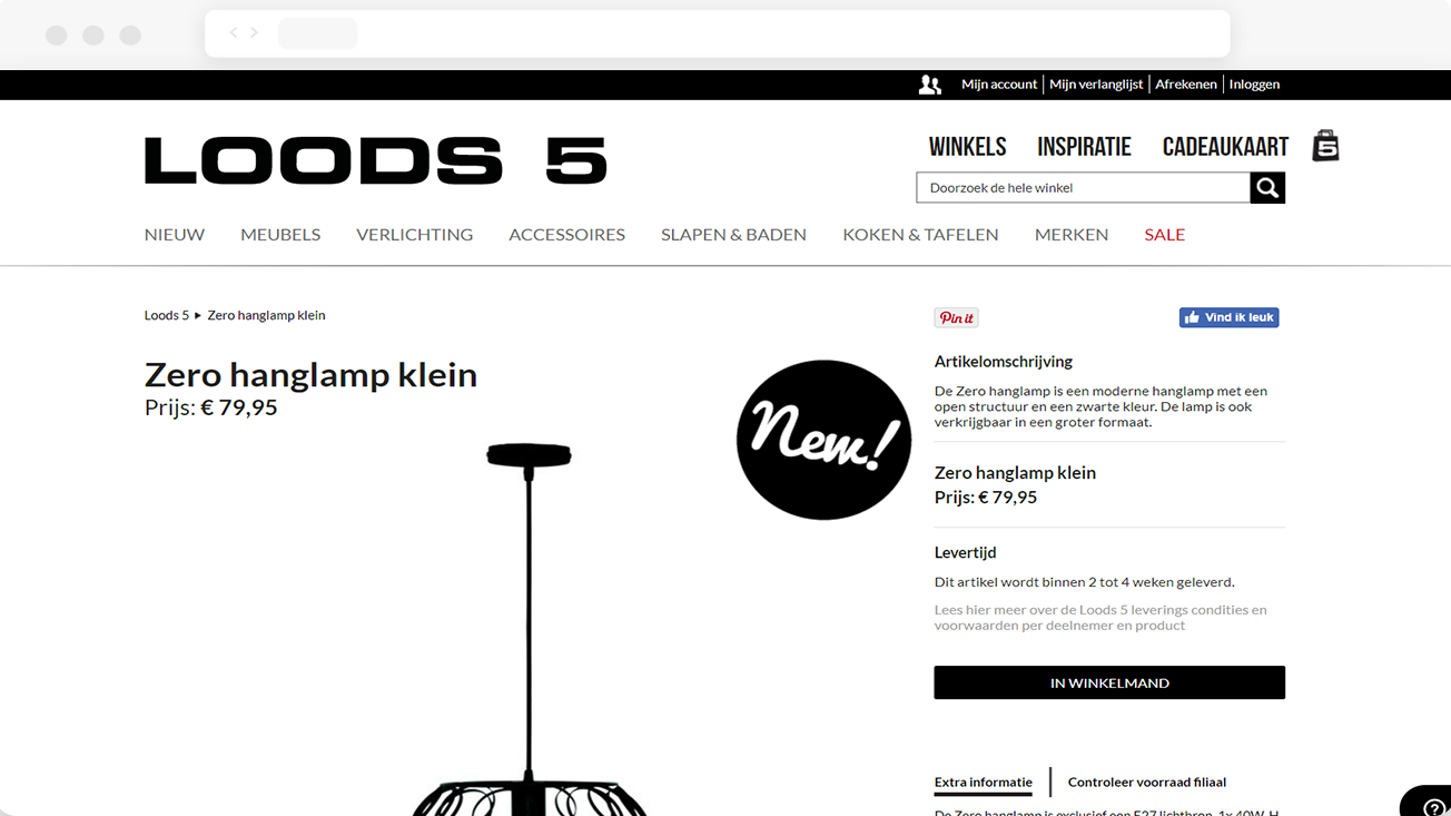 Loods5 Product Screen