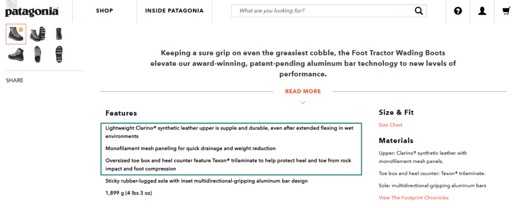 Example of Patagonia Ecommerce