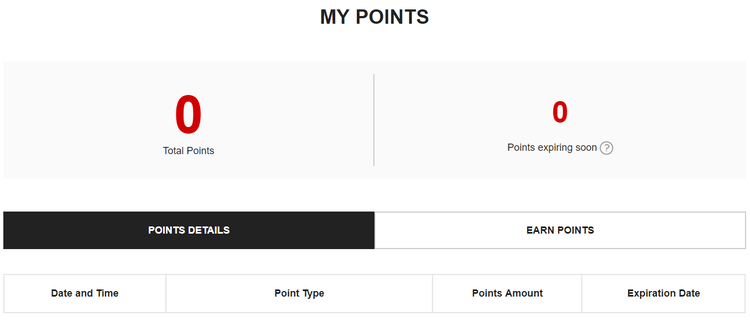 eCommerce loyalty program - my points view