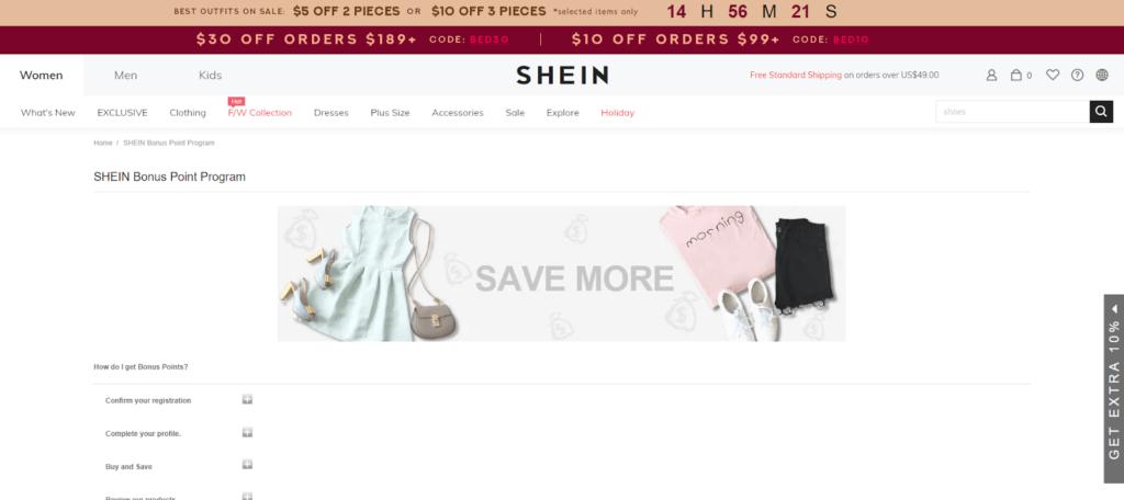 eCommerce loyalty program - Shein