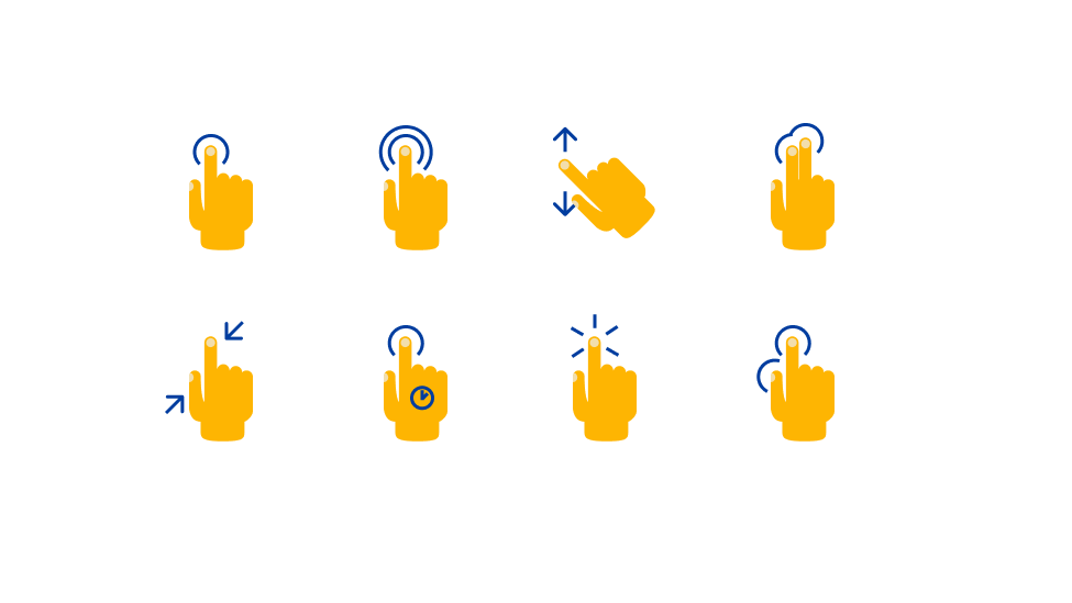 Types of interaction and gestures with mobile devices