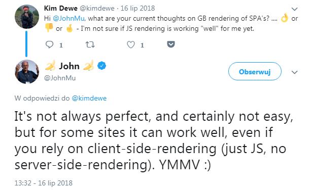 Kim Dewe's comment on PWAs