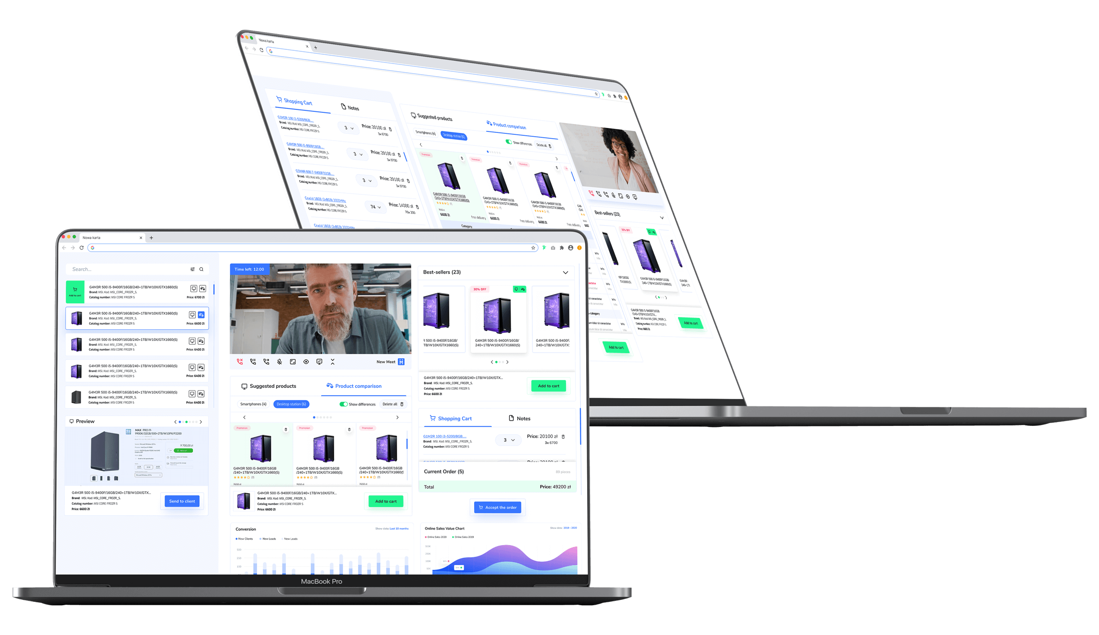 Screen shots of a digitized sales process. A salesperson showing the product catalog directly in a video call