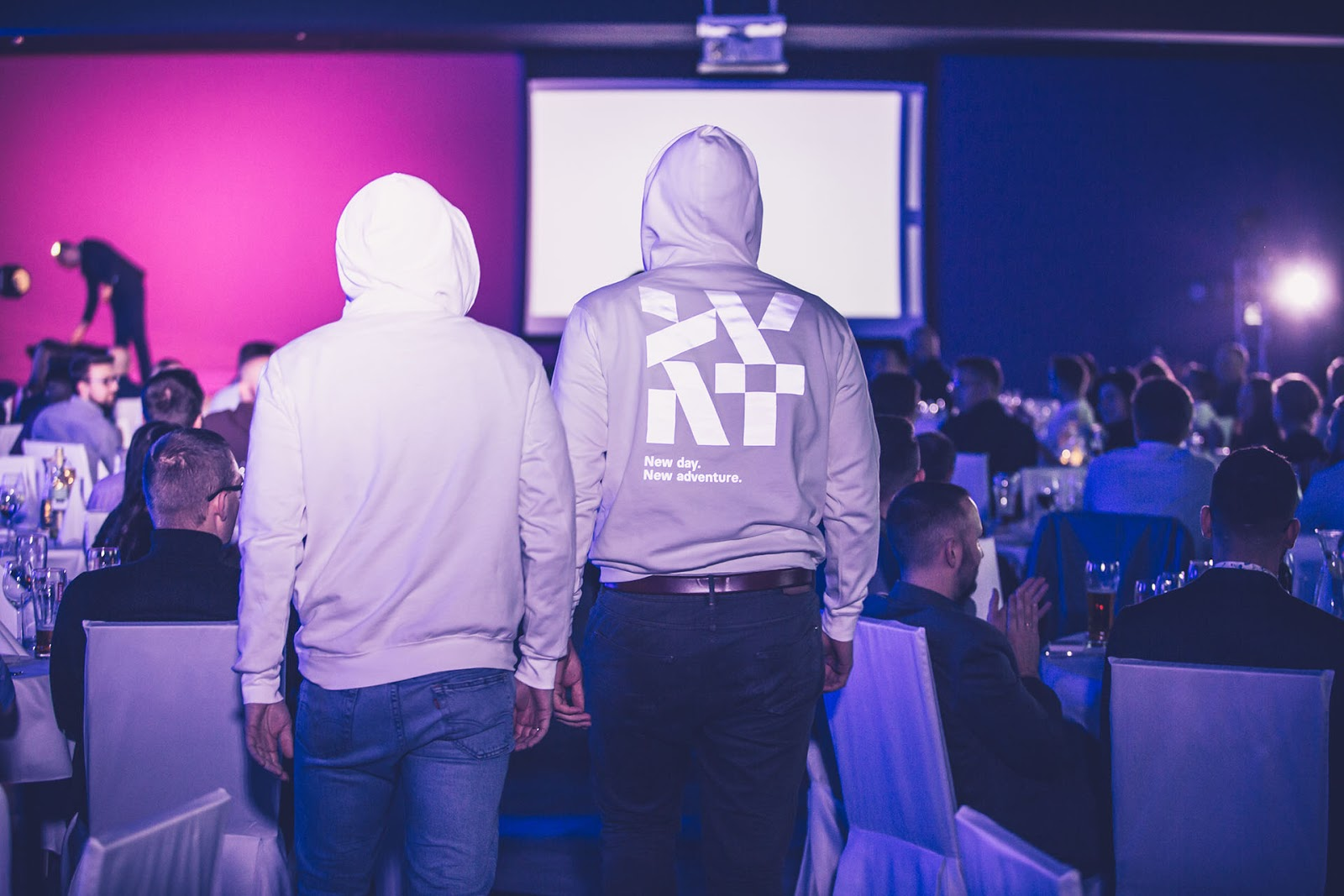 The speakers entering the stage had a special hoodies with the new Divante logo reflecting in the dark, photo: Sławek Przerwa