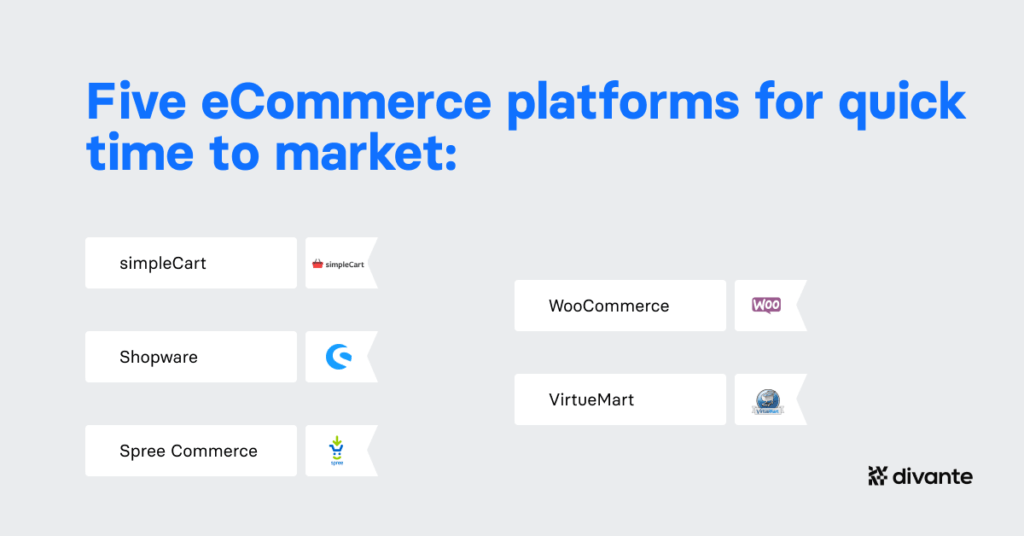5 open-source eCommerce platforms for a quick time to market:  SimpleCart Shopware Spree Woo Virtue Mart