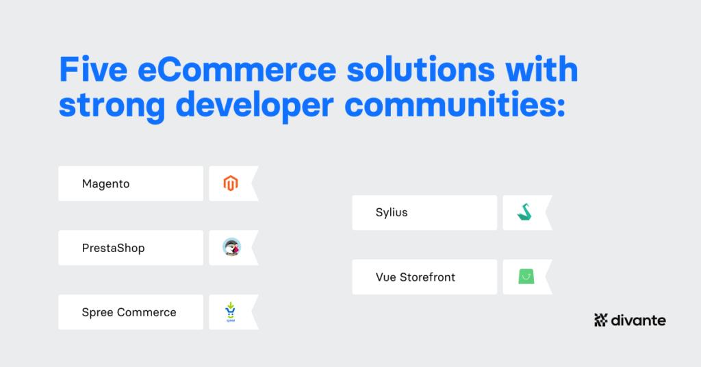 5 open-source eCommerce platforms with strong developer communities  Magento PrestaShop Spree Commerce Sylius Vue Storefront