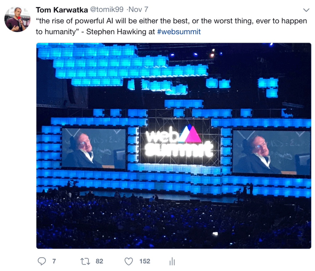 Web Summit - @tomk99 Tweet