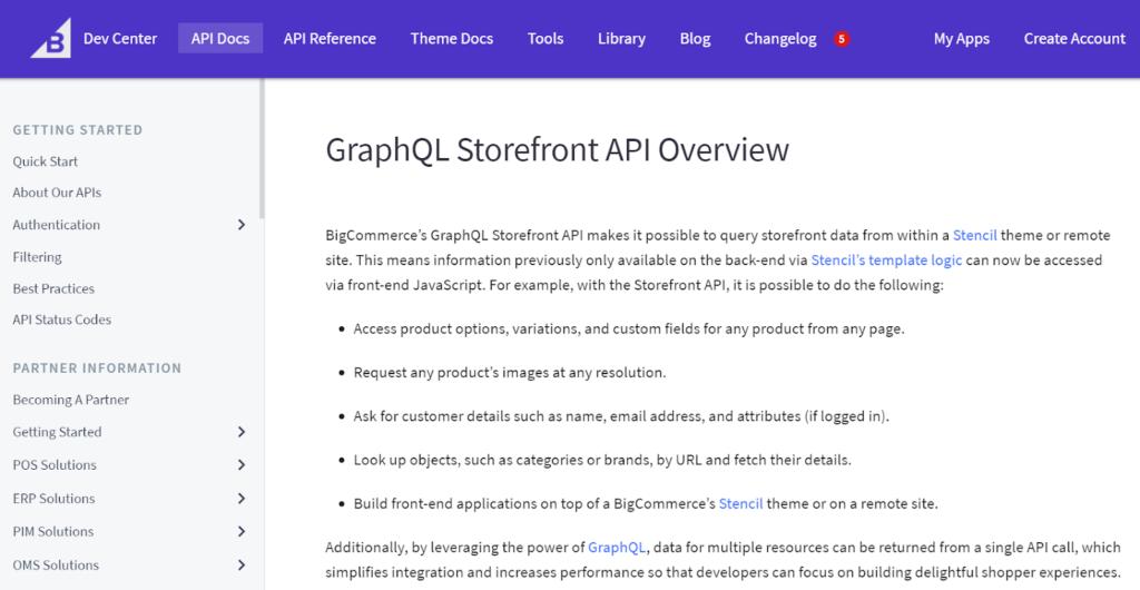 BigCommerce GraphQL API overview page