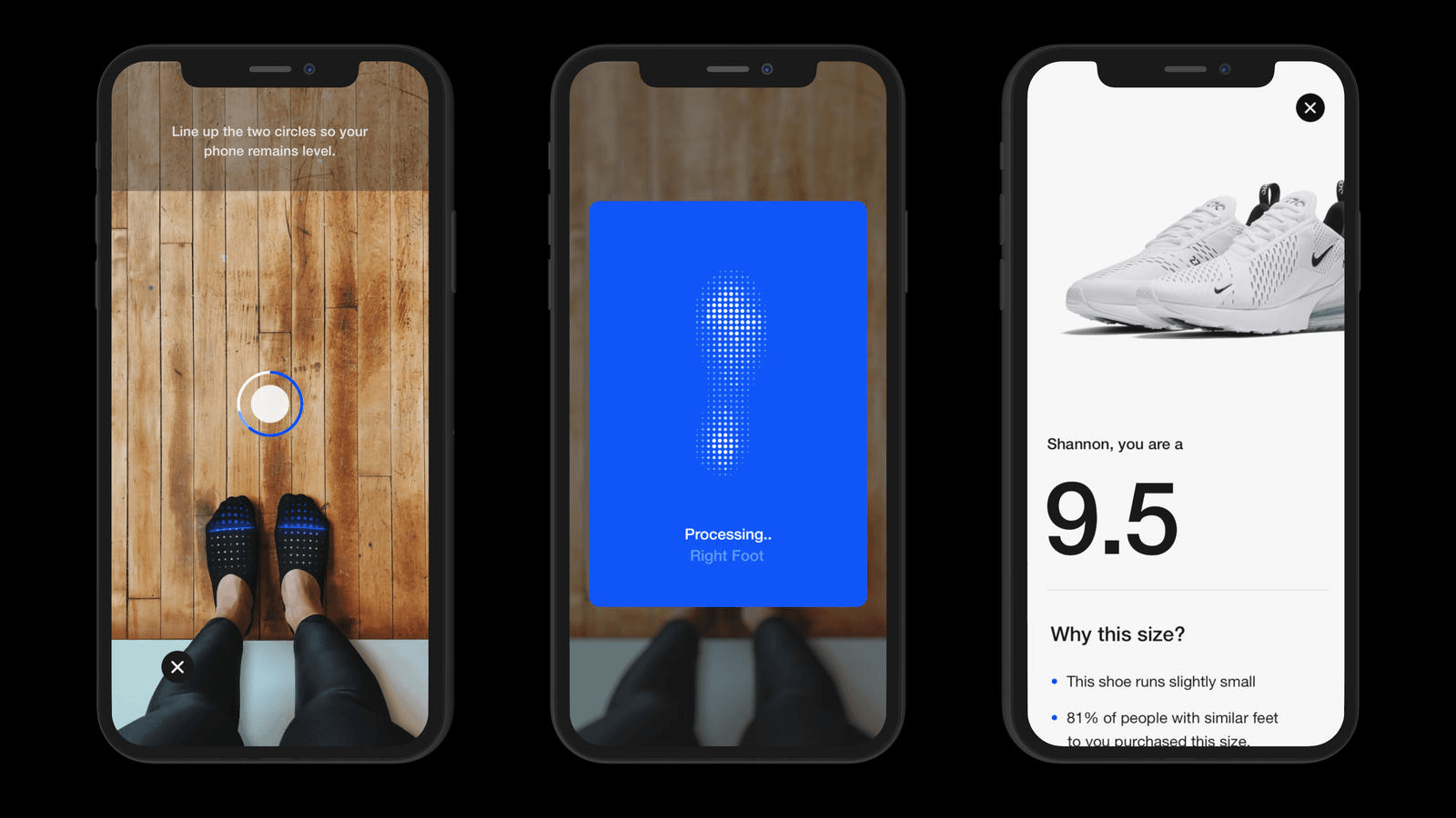 Nike: mobile scanning tool for foot measurement