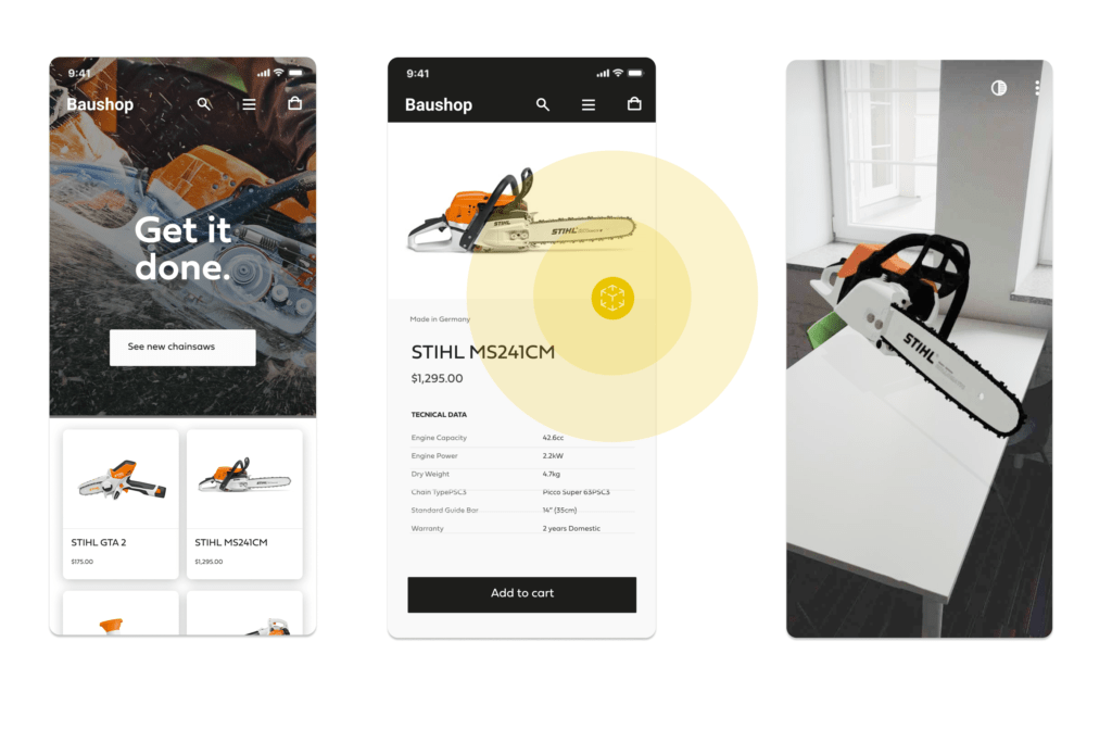 PIMSTAR: 3 views of the AR view of b2b product