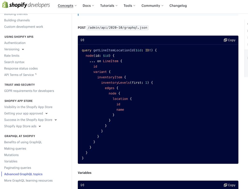 Shopify GraphQL API docs