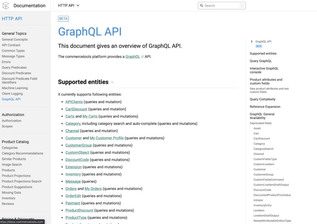 GraphQL API docs from commercetools