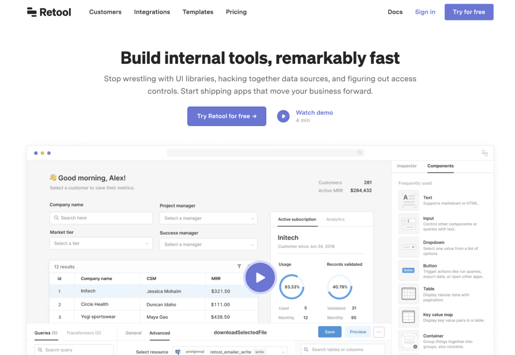 retool, Low-code enterprise products to power up your eCommerce