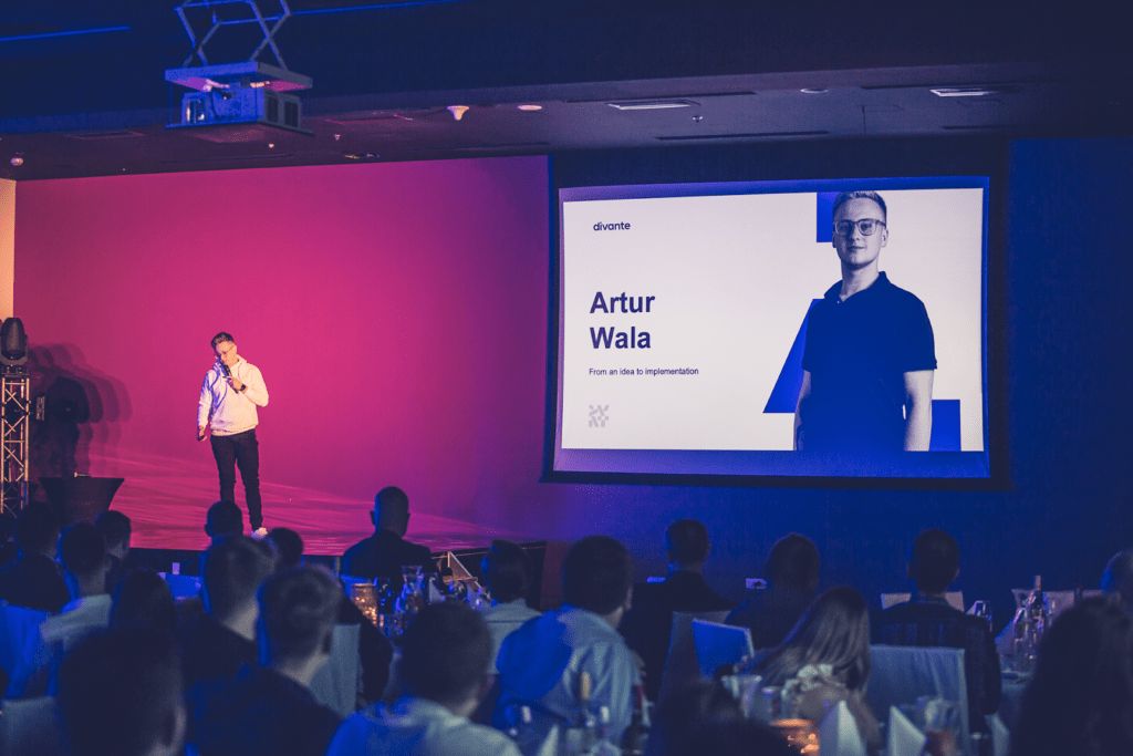 Artur Wala on the stage during Divante Winter Summit 2019