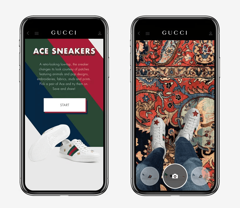 Gucci: virtual try-on of the Cruise collection through a mobile app